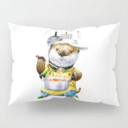 A sea otter cooking Pillow Sham