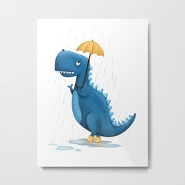 Dino in the Rain Illustration Metal Print