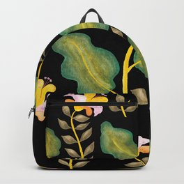 Tropical flowers and banana leaves // Green Pink Yellow Black Palette Backpack