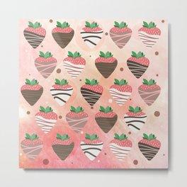 Chocolate Loving Strawberries Metal Print