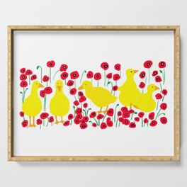 Poppies and ducks Serving Tray