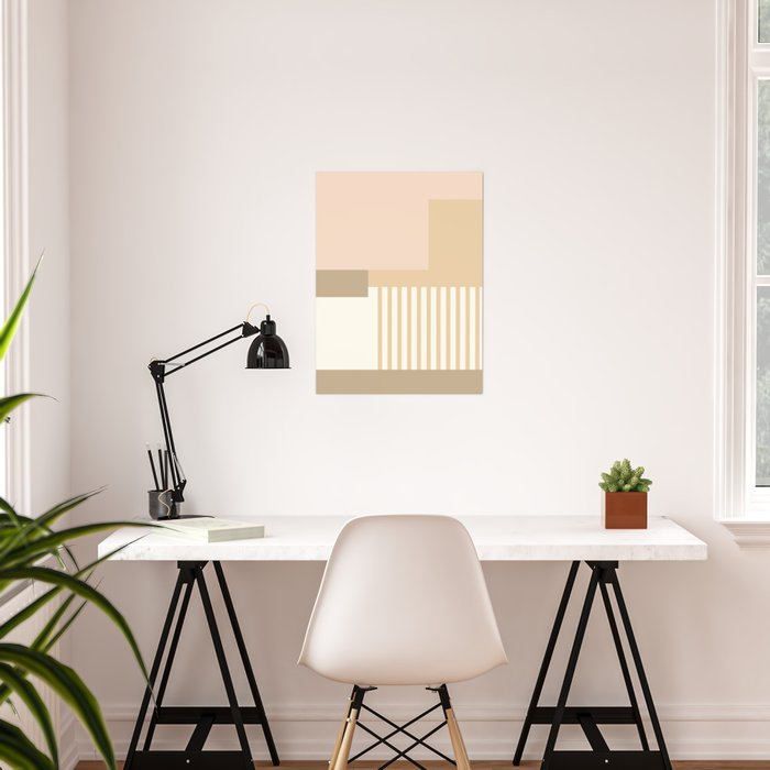 Sol Abstract Geometric Print in Tan Poster