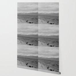 thunderstorm approaching at peroj beach croatia istria black white Wallpaper