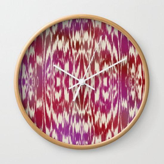 Ikat: Red, Pink Multi Wall Clock