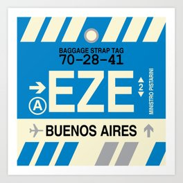 EZE Buenos Aires • Airport Code and Vintage Baggage Tag Design Art Print