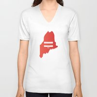 maine V-neck T-shirts featuring Maine Love by Tank Top Sunday