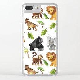 Safari Animals Pattern Watercolor Clear iPhone Case