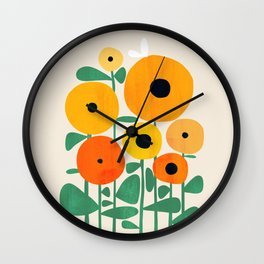 Sunflower and Bee Wall Clock
