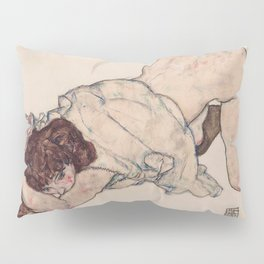 KNEELING GIRL, RESTING ON BOTH ELBOWS - EGON SCHIELE Pillow Sham