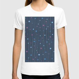 Squares and Vertical Stripes - Cold Colors on Blue - Hanging T-shirt