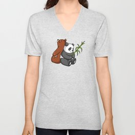 Grizzly Bear And Panda Bear Together Unisex V-Neck