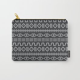 mudcloth white on charcoal Carry-All Pouch