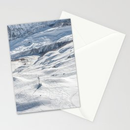 Aerial view of the snow powdered ground near the top of Mont Blanc Stationery Cards