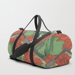 Ukiyo-e print Japanese Tōfukuji Temple and Tsūten Bridge Duffle Bag