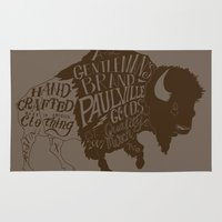 buffalo Area & Throw Rugs featuring Buffalo by Paul McCreery
