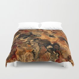 Rust Black and Red Abstract Duvet Cover