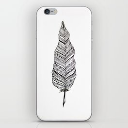Aztec black and white feather iPhone Skin