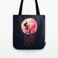 kraken Tote Bags featuring Kraken by Freeminds