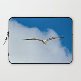Solitary Seagull Bird Flying Sky Clouds Laptop Sleeve