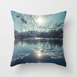 India - Blue lake Throw Pillow