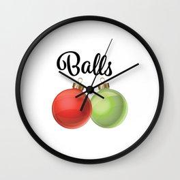 Funny Christmas Graphic 'Balls' Ornaments Wall Clock