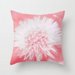 Pink Dandelion Throw Pillow