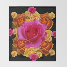 GOLD-YELLOW & PINK ROSES ON BLACK Throw Blanket
