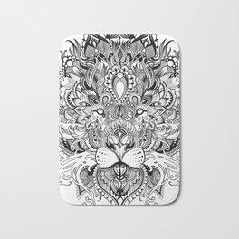 Black And White Geometric pattern mandala lion face Bath Mat