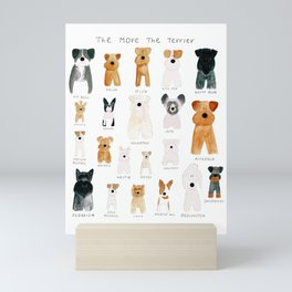 The More the Terrier! Terrier Breeds in Ink and Watercolor Mini Art Print