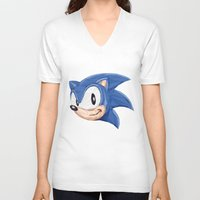 video games V-neck T-shirts featuring Triangles Video Games Heroes - Sonic by s2lart