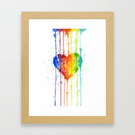 Heart Rainbow Watercolor Colorful Heart Painting Framed Art Print