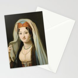 CHARLES FRANCIS JALABERT NÎMES 1819 - 1901 PARIS YOUNG WOMAN IN TRADITIONAL DRESS OTTOMAN Stationery Cards