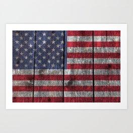 USA flag - on grainy wood Art Print