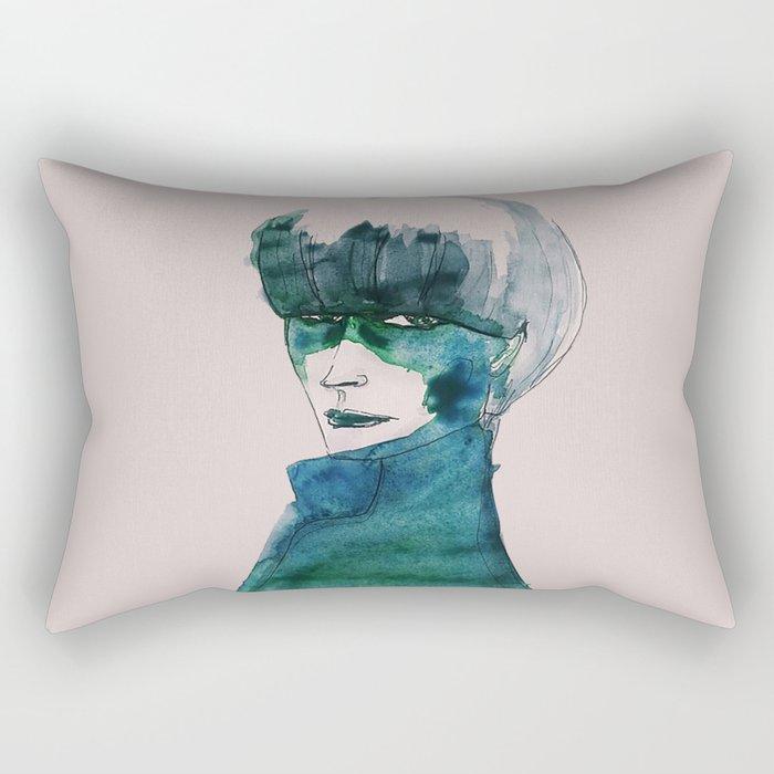 Blue-Green Skin Rectangular Pillow