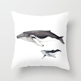 North Atlantic Humpback whale with calf Throw Pillow