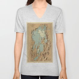 Map Of Lake Bonneville 1900 Unisex V-Neck