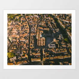 Golden glow at the Notre Dame in Strasbourg, France Art Print