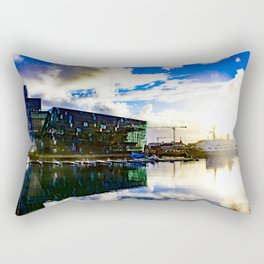 Arctic Circle Sunset Behind a Ship on the Sea behind the Harpa Concert Hall in Reykjavik, Iceland Rectangular Pillow