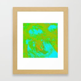 Neon Green Fluid Acrylic Art Framed Art Print