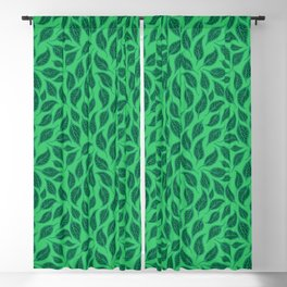 V.08 - Striated Leaves - Green Variegated Leaves Blackout Curtain