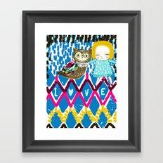 owl and girl love Framed Art Print