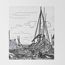 boats on the sea . artwork Throw Blanket