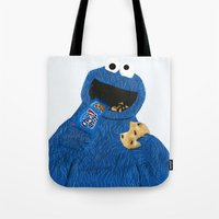 cookie monster Tote Bags featuring Cookie Monster by Dano77