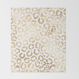 Elegant Gold White Leopard Cheetah Animal Print Throw Blanket