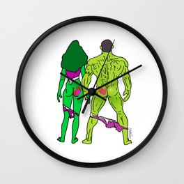 Superhero Butts Love 5 - Green Wall Clock