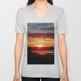 Ground Level Sunset Unisex V-Neck