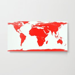 World Map red Metal Print