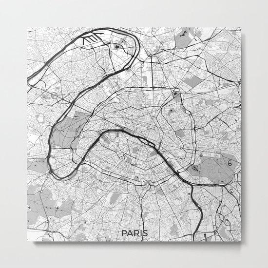 Paris Map Gray Metal Print