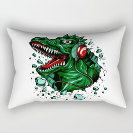 Dino with Headphones Green British Racing Rectangular Pillow