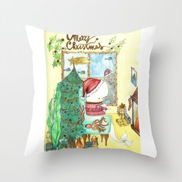 Moby's Christmas Throw Pillow